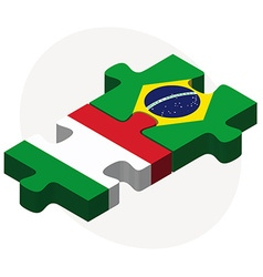 Italy and brazil flags in puzzle vector