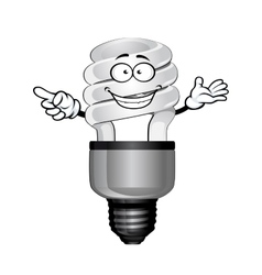 Cartoon saving light bulb character vector