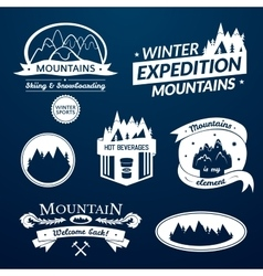 Mountain logo and label set vector