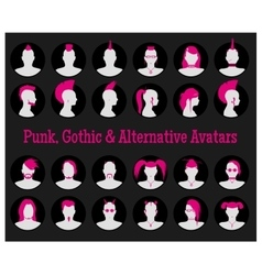 Anonymous goth punk and alternative avatars vector