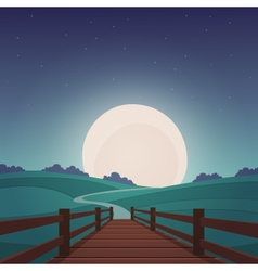 The wooden bridge - night landscape vector