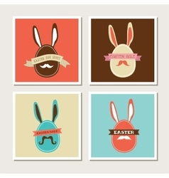 Happy hipster easter - set of stylish bunny cards vector