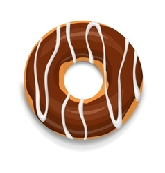 Chocolate donut icon cartoon style vector