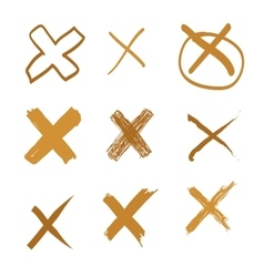 Set of hand-drawn cross doodle gold vector