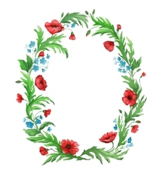 Watercolor flower wreath from poppies vector