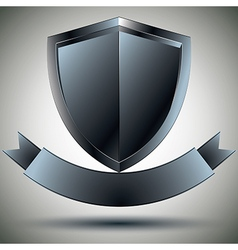 Shield and blank ribbon security symbol vector image