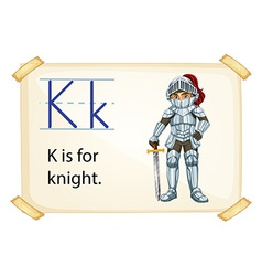 A letter K for knight vector image vector image