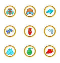 Armament icons set cartoon style vector