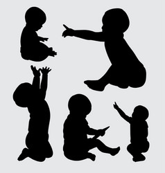 baby cute silhouette vector image vector image