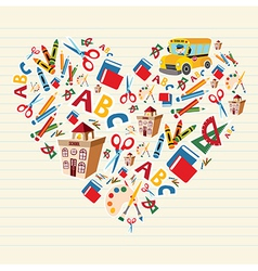 Back to school love heart vector