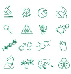 biology simple green outline icons set eps10 vector image