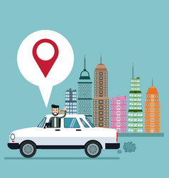 Business man pin map car city background vector