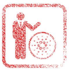 Businessman show cardano framed stamp vector