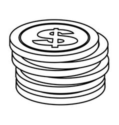 Contour coins dolar currency organized vector