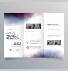 Creative watercolor trifold brochure design vector