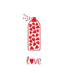Deodorant spray with hearts inside card vector