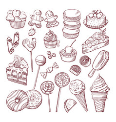 doodle pictures of different desserts vector image