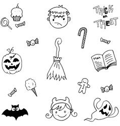 Element halloween in doodle vector