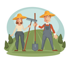 farmers in straw hats with equipment on field vector image vector image