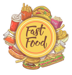 fast food hand drawn design with sandwich burger vector image vector image