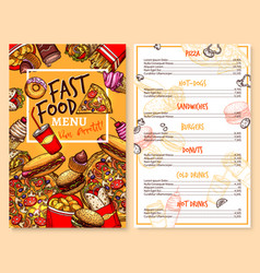 fast food restaurant menu price template vector image vector image