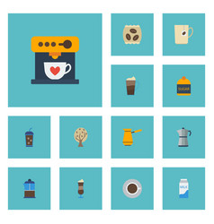 Flat icons french press moka pot ibrik and other vector
