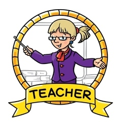 Funny teacher emblem profession abc series vector