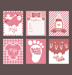 girl pink baby shower invitation greeting cards vector image