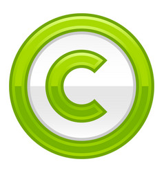 green copyright symbol sign glossy icon vector image vector image