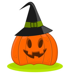 Halloween Pumpkin Jack O Lantern In A Witch Hat vector image