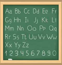 Hand drawn alphabet on blackboard vector image vector image