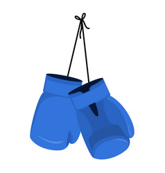 Hanging blue boxing gloves accessory for boxer vector