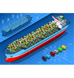 Isometric Cargo Ship with Containers Isolated in vector image
