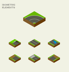 Isometric road set of flat strip underground and vector