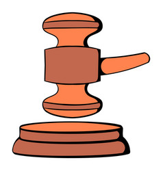 Judge gavel icon cartoon vector