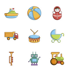 Kid toys icons set cartoon style vector