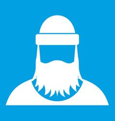 Lumberjack icon white vector