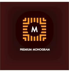 Modern monogram emblem logo Square of the vector image vector image