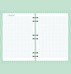 Open squared notepad notebook with spiral vector