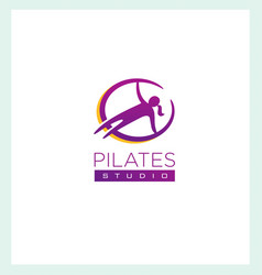 Pilates studio creative sign concep femine vector