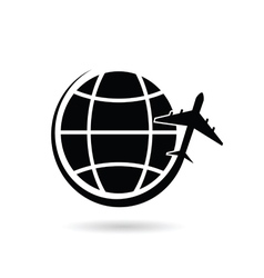 planet earth with airplane black silhouette vector image