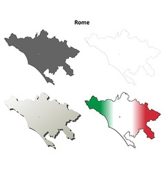 Rome blank detailed outline map set vector