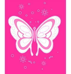 Sequin butterfly embroidery on pink background vector