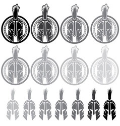 set of shields with spartan warrior vector image vector image