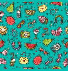 Summer doodle seamless pattern vector