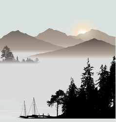 sunrise on the lake during foggy day vector image