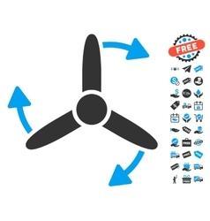 Three bladed screw rotation icon with free bonus vector