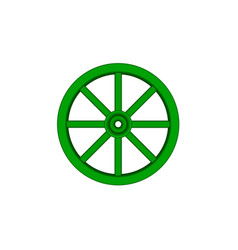 Vintage wooden wheel in green design vector