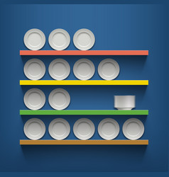 White plates are on the shelves vector