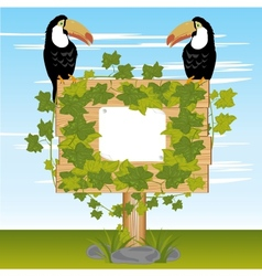 Wooden shield  plants and birds vector